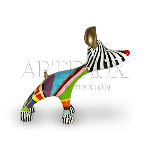 zijkant_rood_neusje_stretching_hotdog_multicolour_gold_kleuren_goud_hondje_vrolijk_design_niloc_pagen_cadeau_kunst_arteaux_maastricht_pieterstraat_decoratie_m